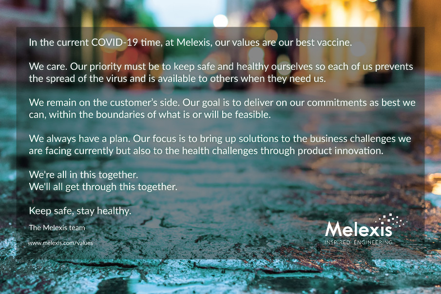 In COVID-19 time, at Melexis, our values are our best vaccine