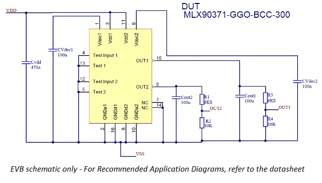 Schema for MLX90371 evaluation board for dual die