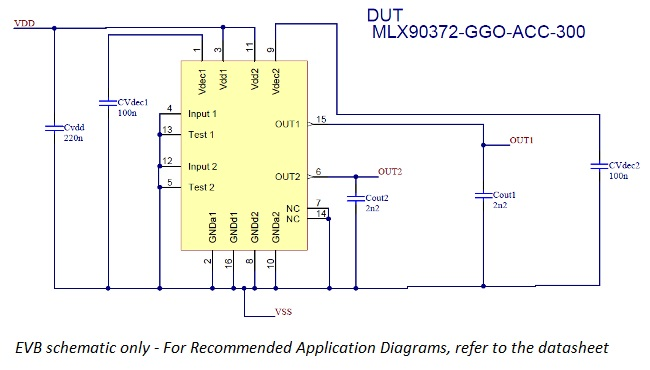 Schema for MLX90372 evaluation board for dual die